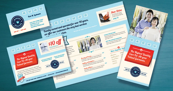 Business Brochures example laundry services makes impression