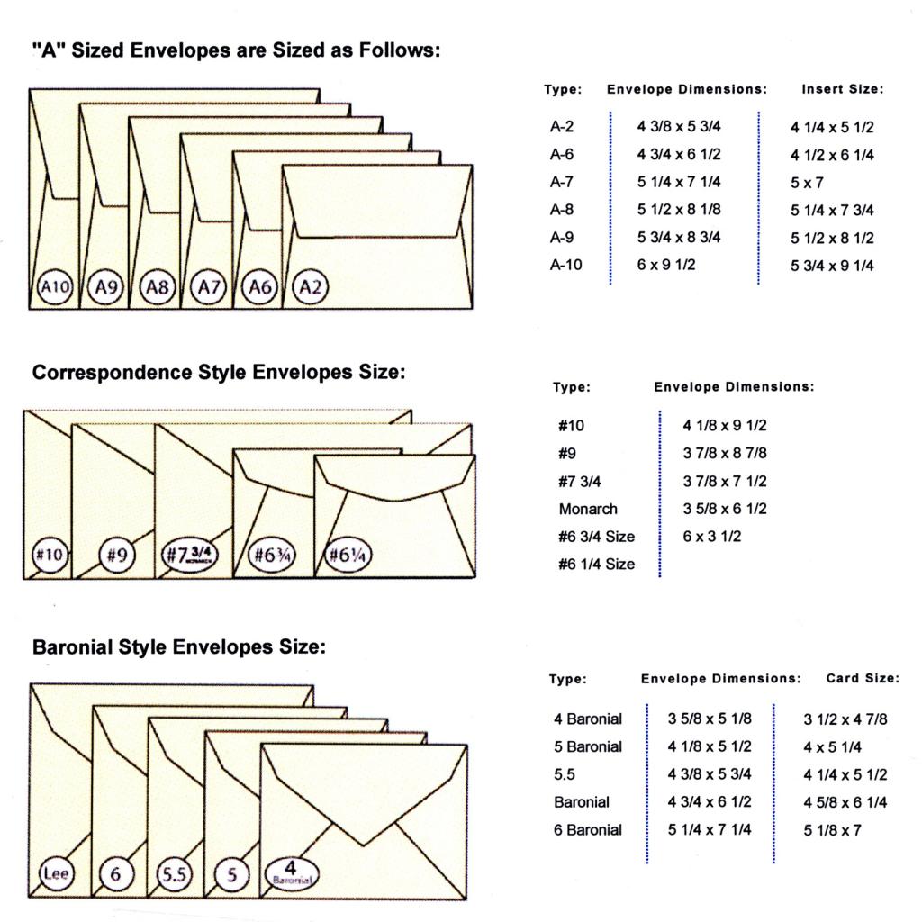 Artech Printing | Announcements Size Chart