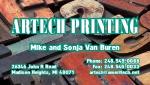 Artech Printing, Madison Heights MI, Business Cards Examples